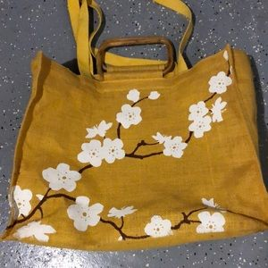 Vintage Yellow Cherry Blossom Beach Tote Bag